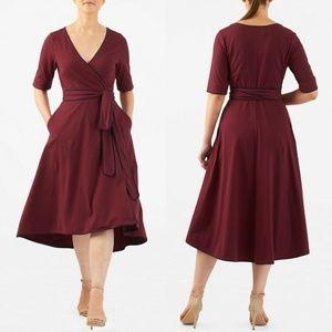 Eshakti Burgundy Red High Low Wrap Dress